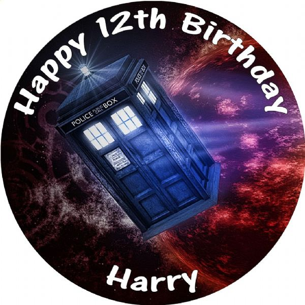 DR WHO TARDIS EDIBLE ROUND BIRTHDAY CAKE PERSONALISED DECORATION